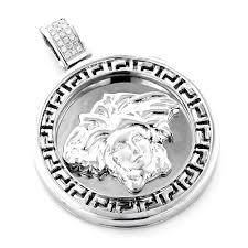 10k gold versace style medusa head diamond pendant medallion 10k gold versace style