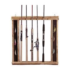 rush creek horizontal vertical wall fishing rod holder rack with lure storage