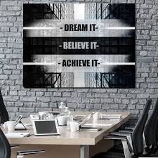 office wall art. Dream It Believe Achieve Motivational Inspirational Canvas Office Wall Art (Wooden Frame Ready To Hang) F