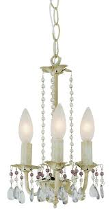 crystal garden 3 light chandelier pink and clear