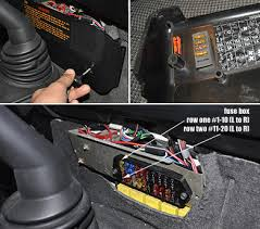 nas defender 110 center dash and engine compartment auxiliary fusebox shown above fuses and relays are exposed once the fuse box cover is removed the yellow row of boxes and compartment behind the fuse holder assembly