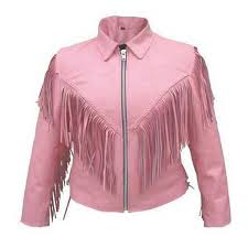 braided and fringed las pink biker jacket braided and fringed pink leather jacket for women