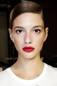 red lips and sleek hair beauty lipstick
