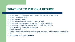 what not to include in a resume resume writing ppt