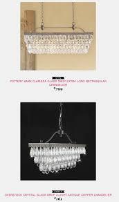 pottery barn clarissa glass drop extra long rectangular chandelier