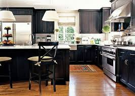 Black Stained Wooden Island Set Design Double Door Kichen Cabinets ...