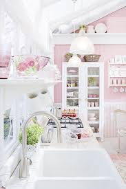 shabby chic kitchen lighting. cute pendant lighting over sink and tall cabinet with glass door feat pink wall idea on kitchen shabby chic