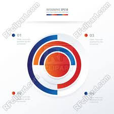 Pie Chart Infographics In Blue And Red Colors Stock Vector Image