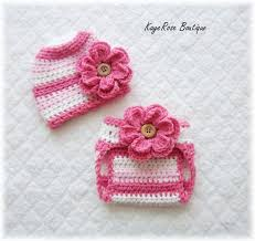Newborn Baby Crochet Flower Hat Diaper Cover Set By