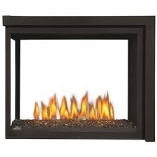wolf steel clean face fireplace peninsula with glass natural gas
