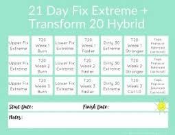 21 Day Fix Extreme Transform 20 Hybrid Workout Schedule