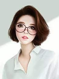 Anime Girls Glasses Short Wallpaper ...