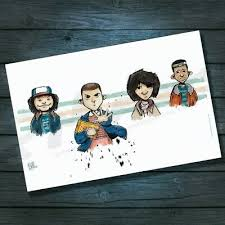 Stranger Things Kids Eleven Mike Dustin Lucas Caricature A4 SIGNED BY  ARTIST | eBay