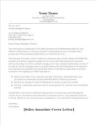 Cover Letter Examples For Sales Associate Sales Associate Cover Letter Templates At