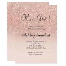 baby girl invite rose gold faux glitter pink ombre girl baby shower invitation