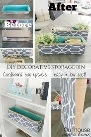 DIY decorative storage bin cardboard box upcycle Decorative