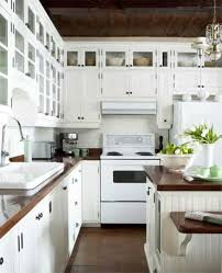Country Kitchen Decorating With White Appliances With Butcherblock
