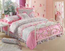 pink and white polka dot girls princess bowtie ruffled bedding sets embroidered bedding