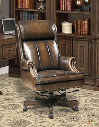 executive office desk chairs. Image Is Loading Executive-Office-Desk-Chair -Genuine-Brown-Leather-Traditional- Executive Office Desk Chairs