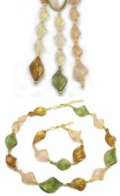 elegant gl parure made in italy jewelry whole necklace made from big leaf gl beads mm 30 with 24k gold foil