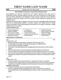 Transportation & Logistics Specialist Resume