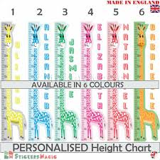 Boys Height Chart Uk Giraffe Height Chart Wall Sticker Personalised For Boys