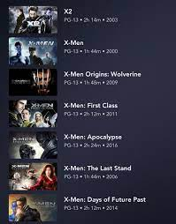 X-Men Movies now in Canada with the exception of Logan. (Not all pictured)  : DisneyPlus