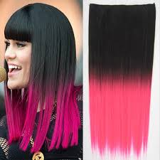 Clip In Vlasy Rovný Pás Ombre Odstín Black T Pink