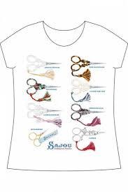 Sajou white <b>short</b>-<b>sleeved t</b>-<b>shirt Embroidery</b> Scissors - Maison SAJOU