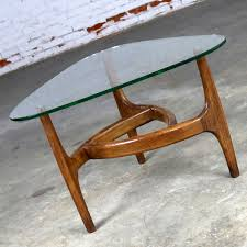 adrian pearsall style triangular glass top side table mid century modern glass top side table l42