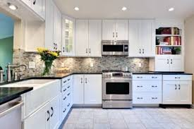 Install Bright Lighting Inside Appealing Kitchens With White Cabinets And  Dark Marble Countertop Under Ceiling White Cabinets Marble Countertops U24
