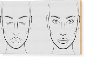 Blank Face Charts To Print Young Woman Face Chart Makeup Artist Blank Template Wood Print