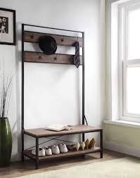 vintage dark brown entryway shoe bench with coat rack hall tree storage 7 hook