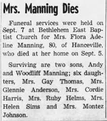 Obituary for Flora Manning - Newspapers.com