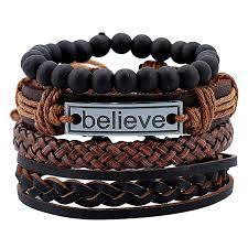 men s bracelet sets vintage woven leather jewelry
