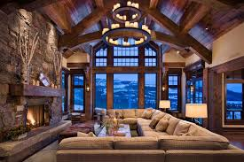 united states lighting for living room with tufted sectional sofas rustic and mountain view timber trusses