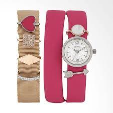 fossil es3964 double wrap georgia crystals leather set jam tangan wanita pink silver harga spesifikasi
