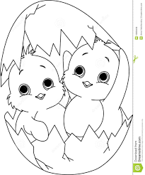 Two Easter Chickens In The Egg Coloring Page Stock Vector Free