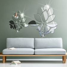 Mirror Wall Decor For Living Room Home Living Room Decor Five Flower 3d Crystal Mirror Wall Stickers
