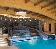 Impressive Indoor Pool And Hot Tub With A Slide Extravagant Vermont Vacation House New England Home Intended Modern Design