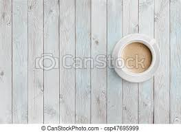 white table top view. Coffee Cup On White Wood Table Top View Stock Photo