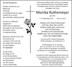 Traueranzeige Monika Ruthemeyer Gedanken Sprüche Traueranzeige