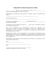 Simple Contractor Agreement Template Independent Contractor Agreement Simple Contractor