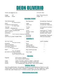 Musical Theatre Resume Musical Theatre Resumes Cosy Musical Audition Resume Sample For 3