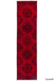 3 x 12 6 96 x 381 cm red color vintage overdyed handmade turkish runner rug red overdyed runner rug