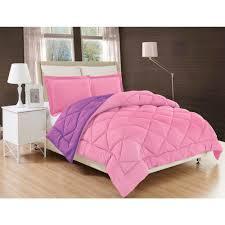down alternative pink and purple reversible king comforter set