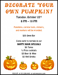 pumpkin carving contest flyer decorate your own pumpkin at poco murphguide nyc bar guide