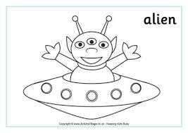 Small Picture Alien Colouring Page