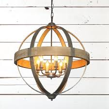 huge metal and wood sphere chandelier