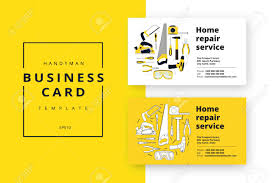 Home Improvement Corporate Business Card With Repair Tools House